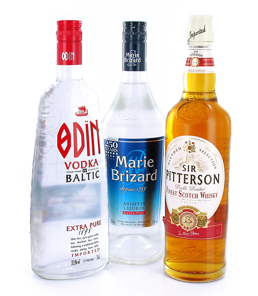 photography of transparent bottles with white background