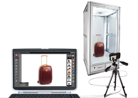 carrying bag 3d animation in an automated photo machine