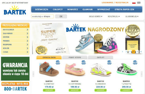 webpage of the brand Bartek