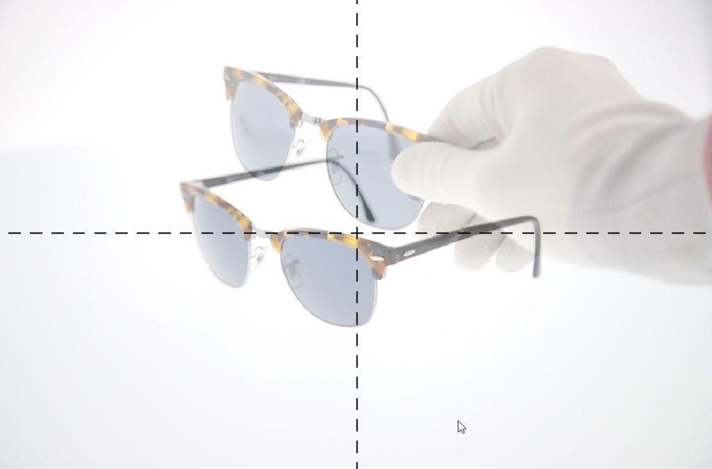 Geisterbild-Positionierungsfoto eines Produkts in einer Software