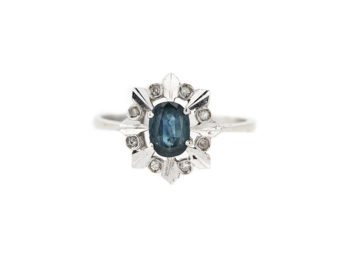 diamond ring blue gemstone
