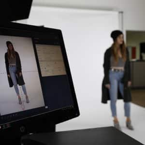 fashion photography shooting with LED lighting kit Live Studio