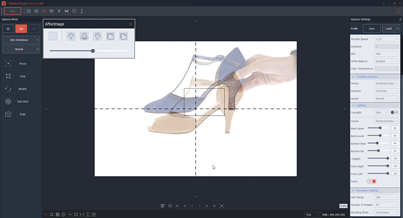 How to position shoe for a 360° product animation
