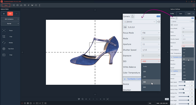 shoes camera settings for 360° animation