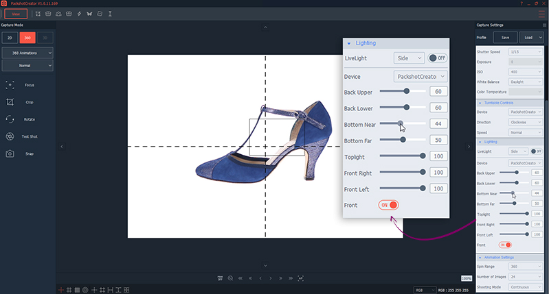 shoes photography lighting settings for 360° animation