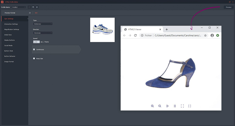 How to customize a 360° shoe animation?