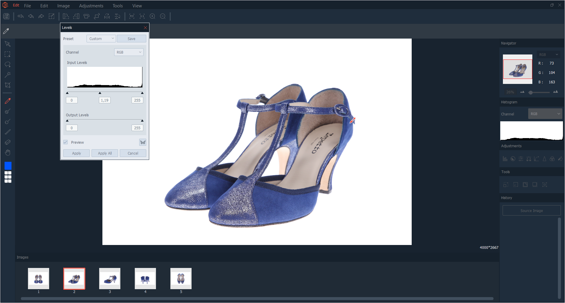 Multi-editing for shoes product photography