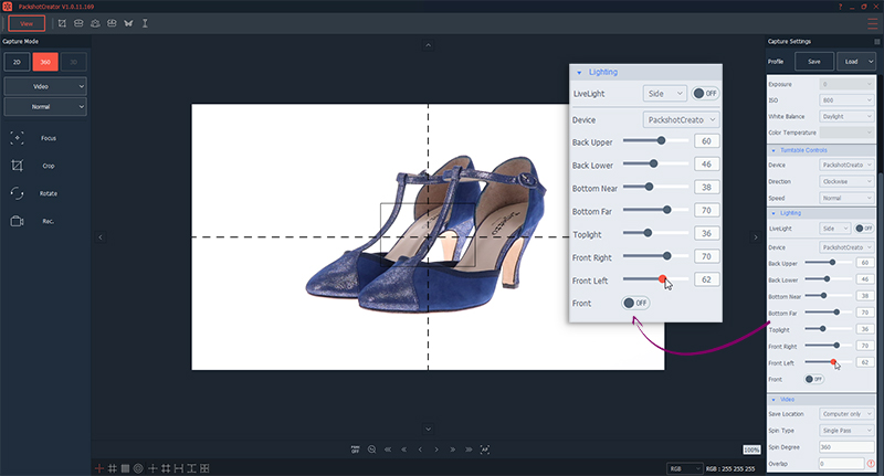 Create an 360 animation of shoes with lighting settings