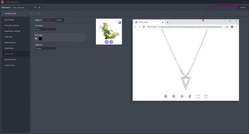 Profil HTML5 360 animation 360° personnalisée de collier