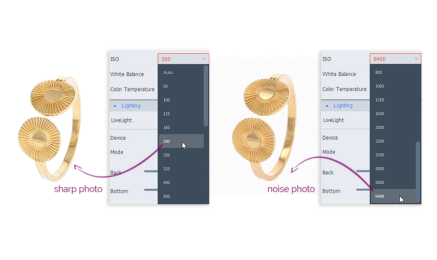 adjusting ISO on the software to shoot jewelry