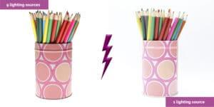 lápices de colores con dos luces diferentes