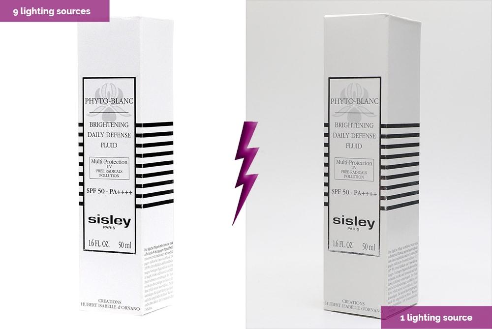 embalaje blanco con dos luces diferentes