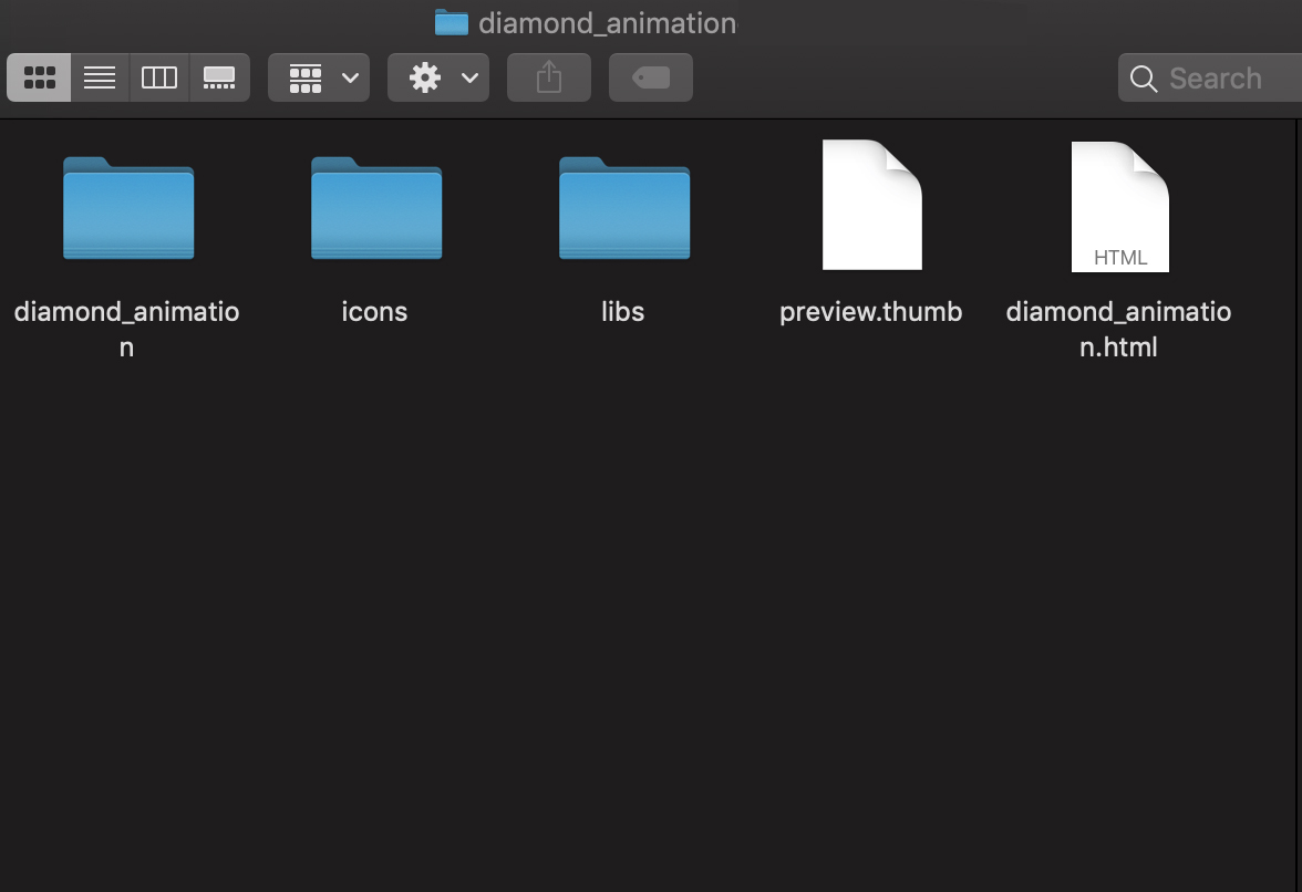 folder generated by the software of a ready diamond animation in HTML format