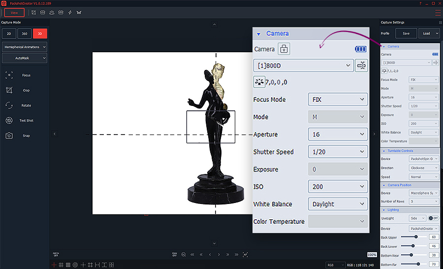 camera and light adjustment for 3D animation with automask