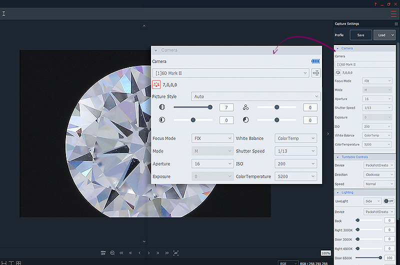 correct camera settings for a 360 vertical view of diamonds