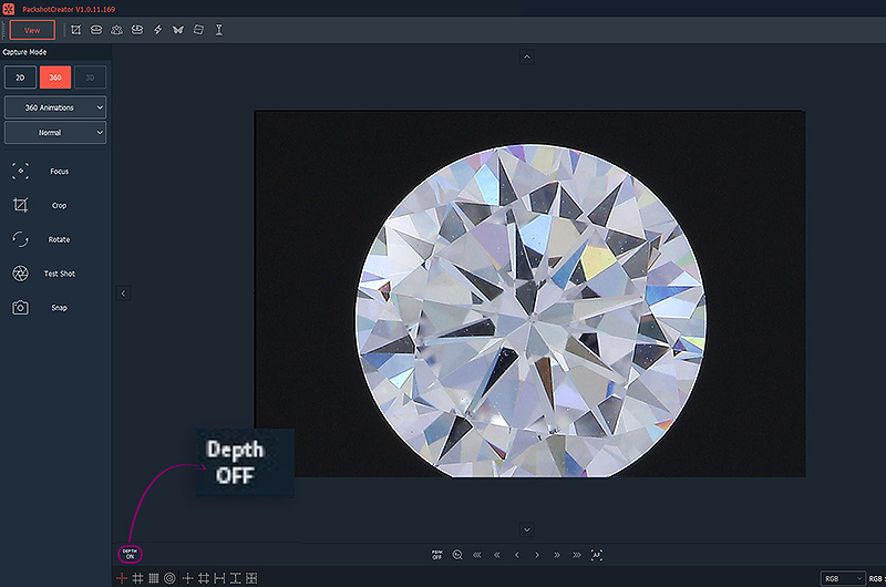 focusing a diamond with PackshotCreator software