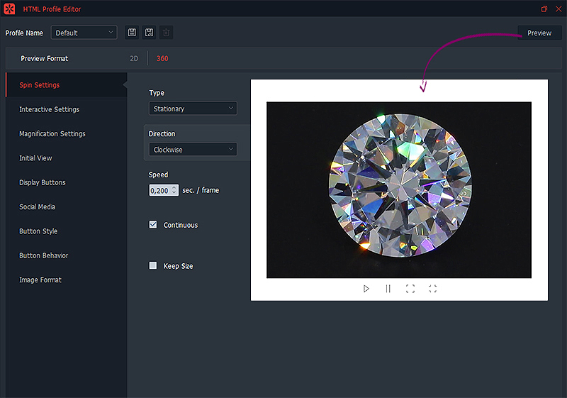 creating a html profile for diamond sparkle views