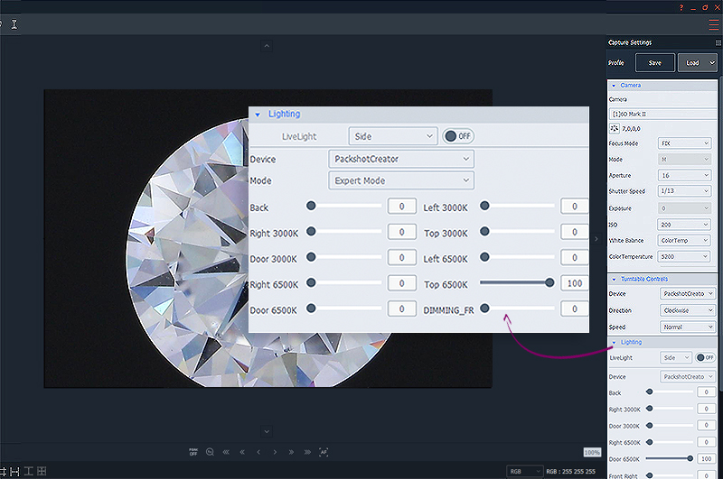 how to adjust the lighting for a diamond view